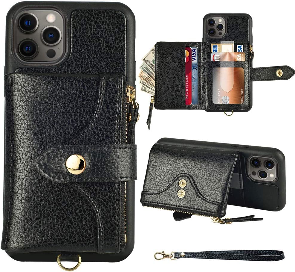 LAMEEKU Wallet Case Compatible with iPhone 12 Pro Max, Card Holder Case with Wrist Strap Zipper Purse Shockproof Case Compatible with iPhone 12 Pro Max 6.7'' Black