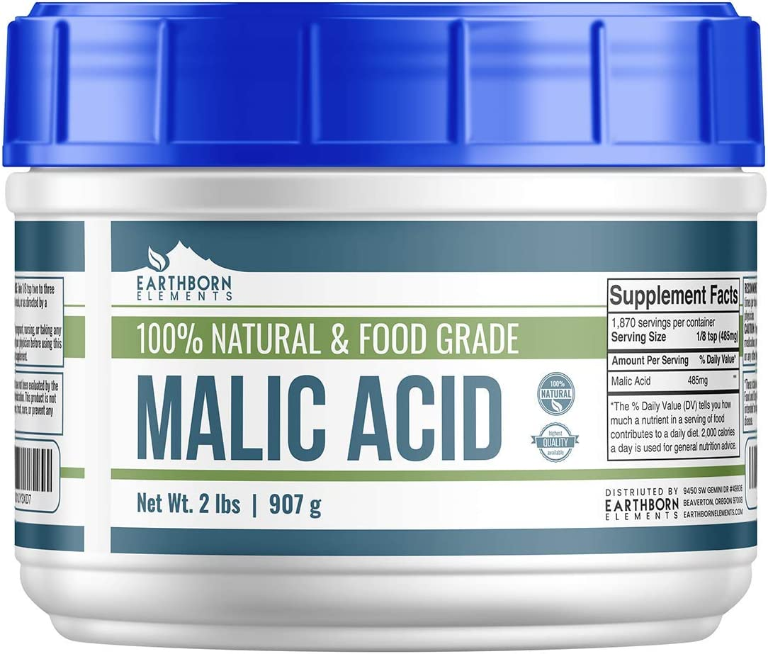 Malic Acid Crystals (2 LBS) by Earthborn Elements, Resealable Tub, Boost Energy Production*, Alpha Hydroxy Acid, Help with Muscle Soreness