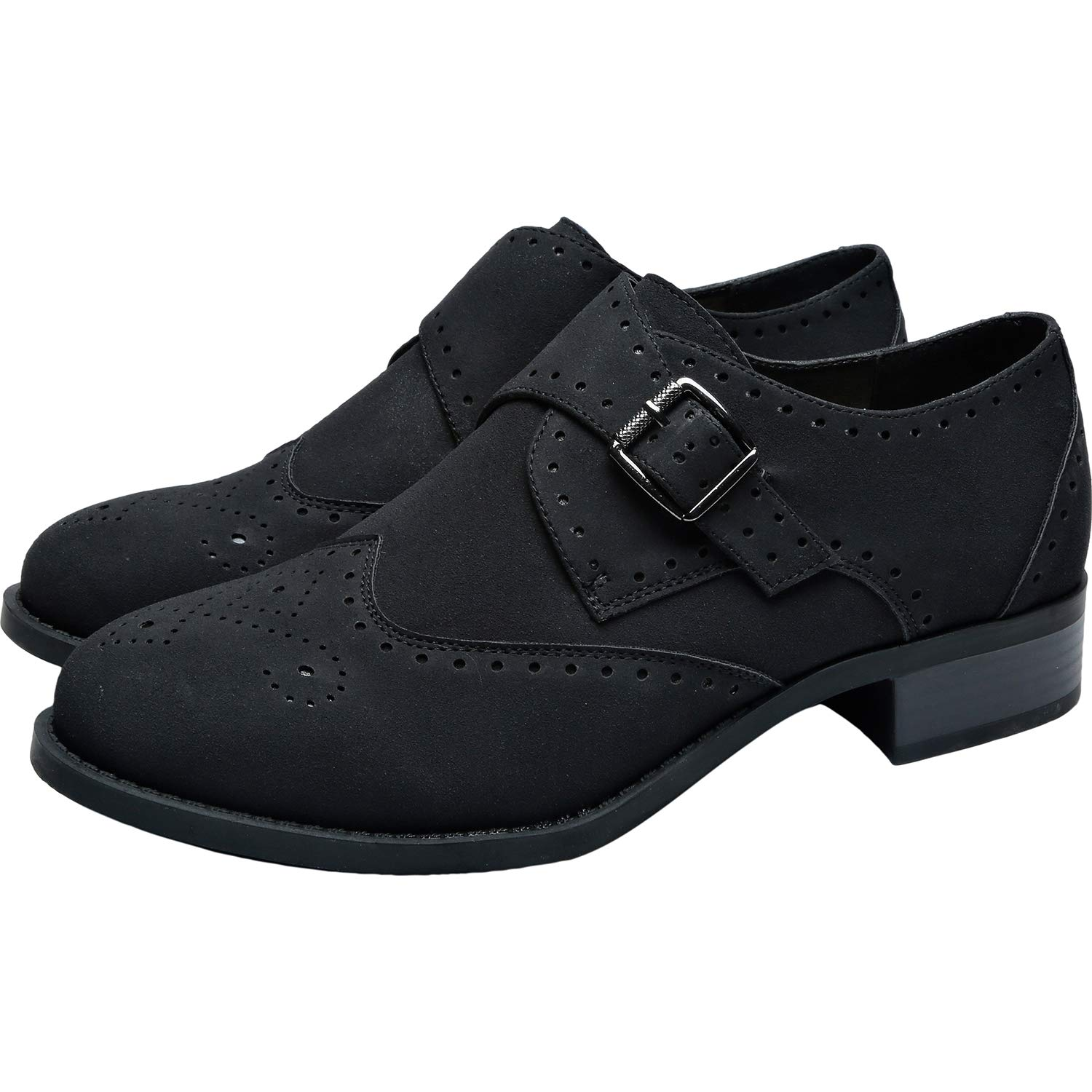Women's Oxford Shoes – Vintage 1920s, 1930s, 1940s Heels Womens Wide Width Brogue Oxfords - Low Heel Urban Formal Monk Strap Shoes. $44.99 AT vintagedancer.com