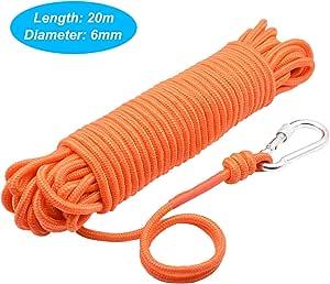 HHOOMY Pesca de Cuerda Magnética con Mosquetón, 65 Pies (20 Metros) Cordón de Nylon de Alta Resistencia para Todo Uso, Cuerda Duradera, Cuerda Pesada ...