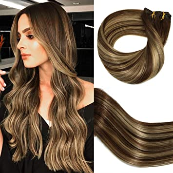 Huayi Clip In Hair Extensions Human Hair Chocolate Brown Highlights Ombre Blonde 120g Thick End Soft