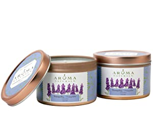 Aroma Naturals Tin Candle Lavender Essential Oil Natural Soy Scented, Tranquility, 2 Count