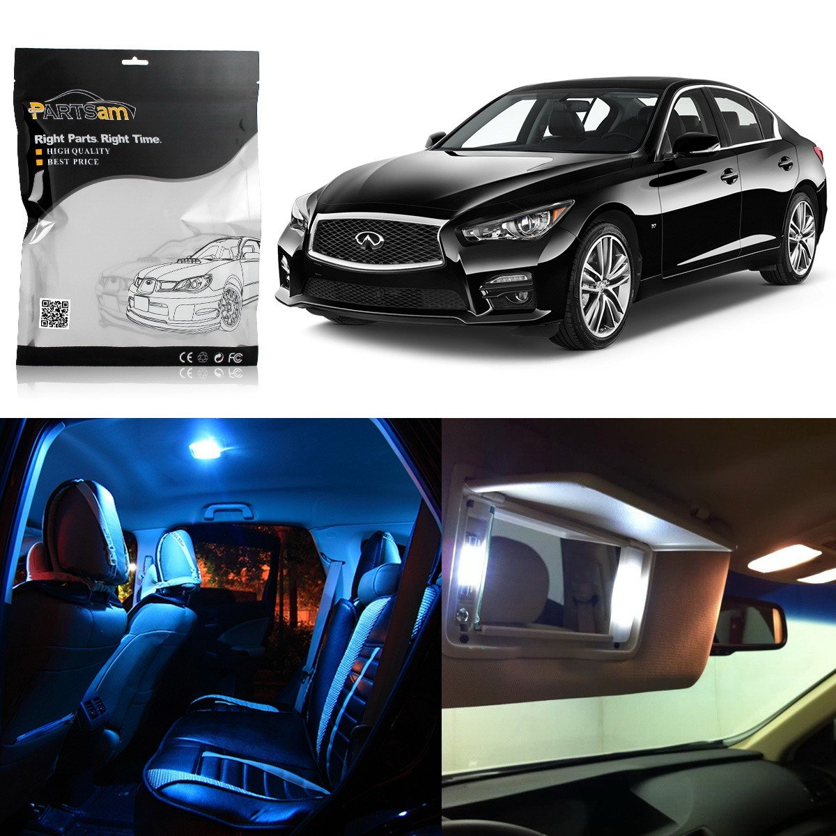 Amazon.com: Partsam 2014 2015 Infiniti Q50 White Interior LED Package Kit + Tag Lights (10 Pieces): Automotive