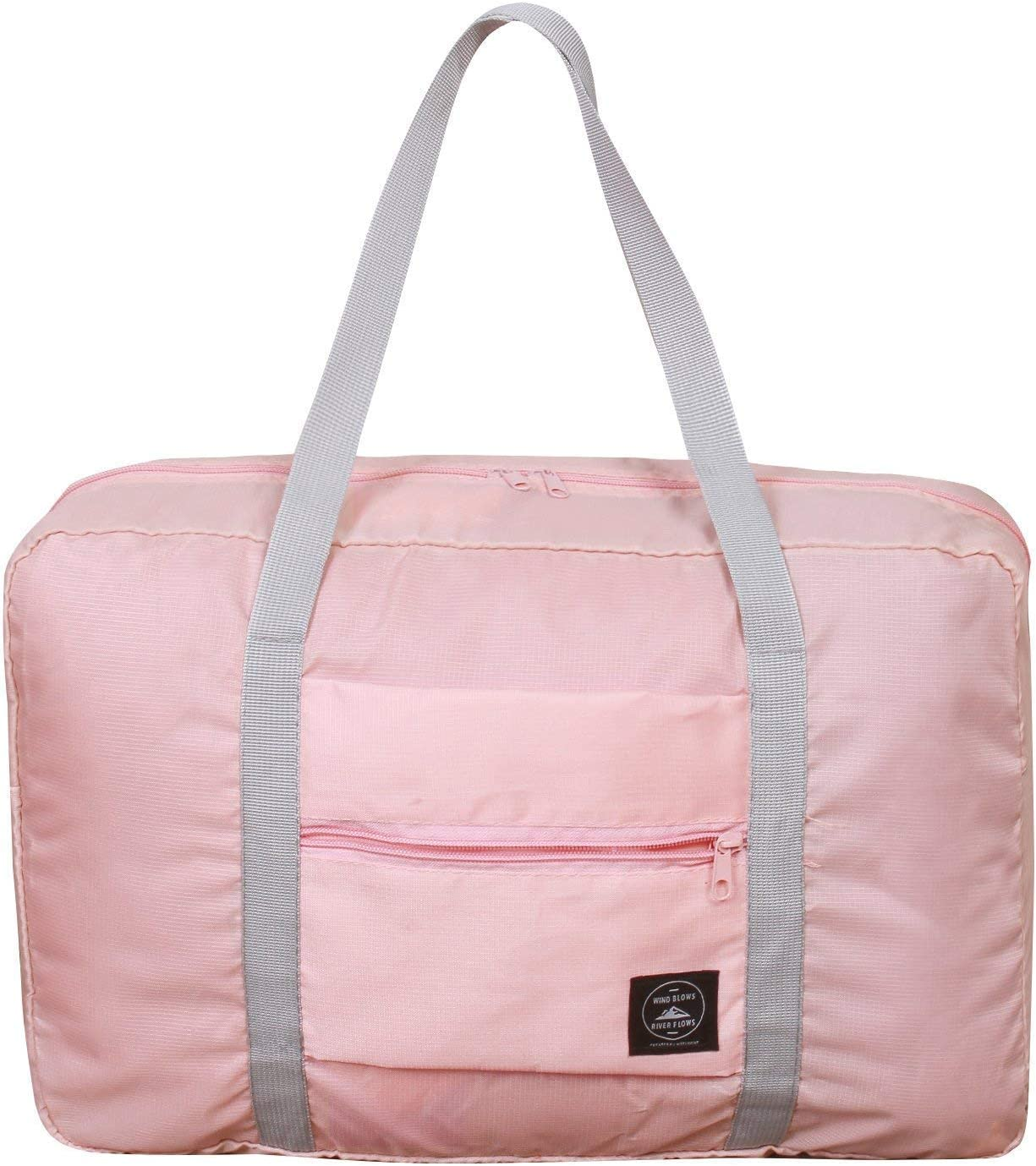 Foldable Duffel Bag for Women and Men-Pink, Heylian Lightweight Waterproof Luggage Travel Bag