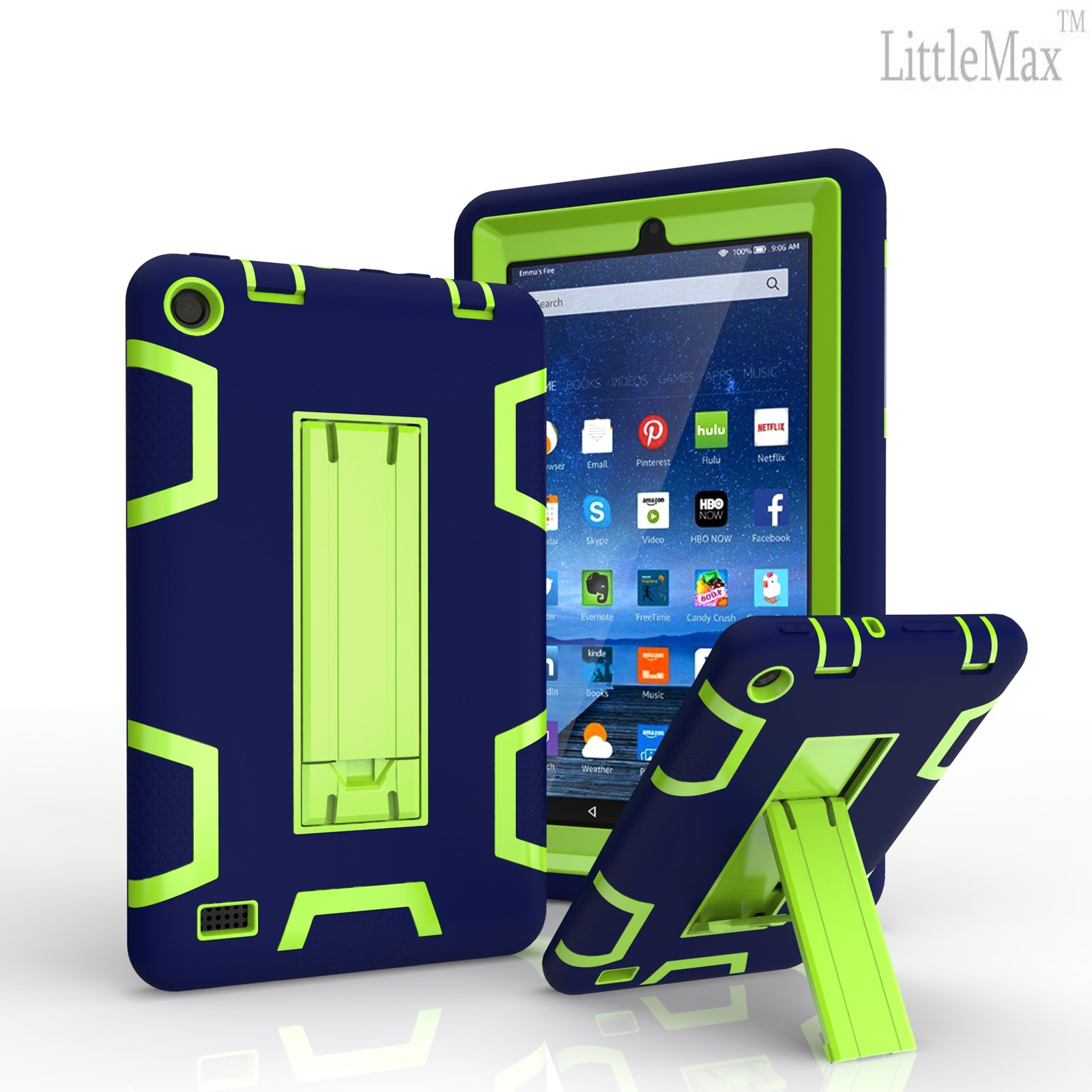 Case for Fire 7 (2015 Released),LittleMax(TM) [High Impact] Kickstand Protective Case Daul Lay Robot Soft Gel Tough PC Amazon Fire 7 Inch Tablet Cover [Free Cleaning Cloth,Stylus Pen]-Navy Blue Green