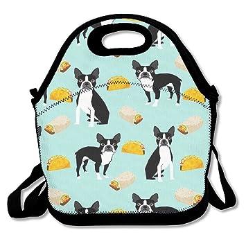 Boston Terrier tacos cremallera portátil bolsa de almuerzo ...