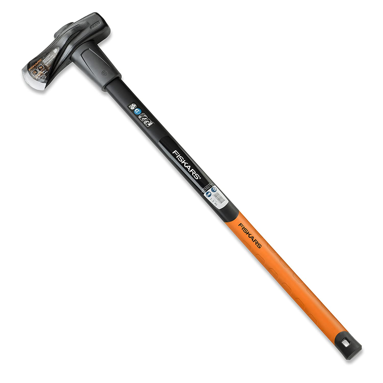 Fiskars Splitting Axe X37, 3 kg with anti-shock protection (forged carbon steel), 2 in 1: axe and hammer, Tempered steel blade/Resistant fibreglass handle, Black/Orange, 1001704