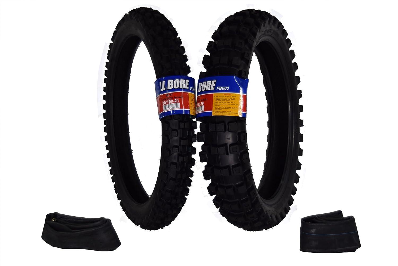 Full Bore 80/100-21 F 120/80-19 R M37 Intermediate Terrain Dirt Bike Tire Set with TR-4 Inner Tubes