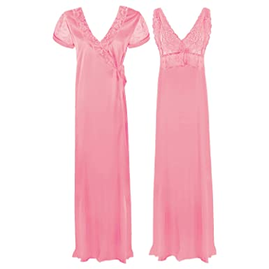 e2ad6deb23 The Orange Tags Satin Long Chemise Night Dress Nightdress Nightie Slip Robe  Gown 8-16-Baby Pink-One Size  Regular (8-16)  Amazon.co.uk  Clothing