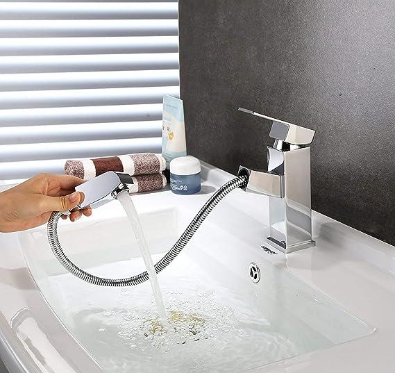 HOMFA Grifo Extraible de Lavabo con Cabezal de Ducha Grifo con Burbujeador de ABS Agua Caliente y Fría de para Cocina Baño Mezclador de Lavabo Cromado Puerto Estándar de 3/8 Pulgadas 15.6x17.5x4.1cm: