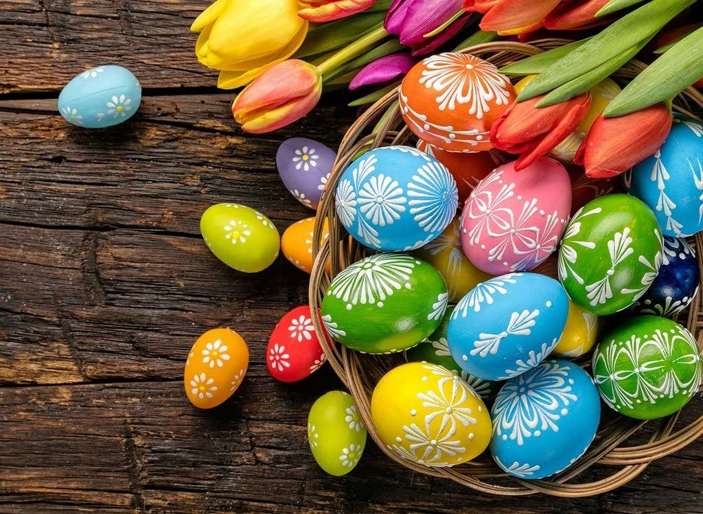 Sim,Handmade Premium Basswood Jigsaw Puzzle 500 Piece Bright Color Famouse Painting 20.6 X 15.1 inch Nobleness Present in Box Present-Wrap:Easter Eggs Colorful Basket