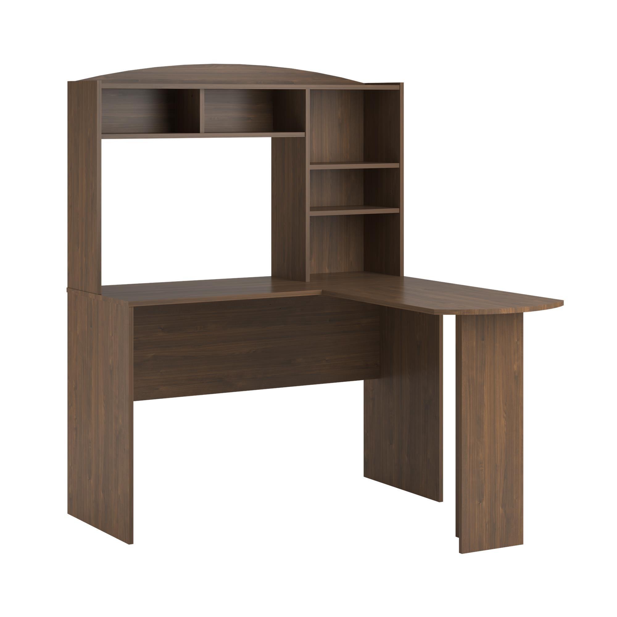 Altra Furniture Dakota Space Saving L Desk with Hutch, Saint Walnut