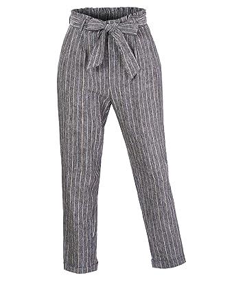 14cff69816 RK RUBY KARAT Womens High Waisted Linen Blend Striped Paper Bag Belted Trouser  Pants, Black