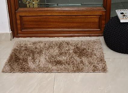 Avira Home Shaggy Microfiber Carpet, 50x80 cm (Beige)