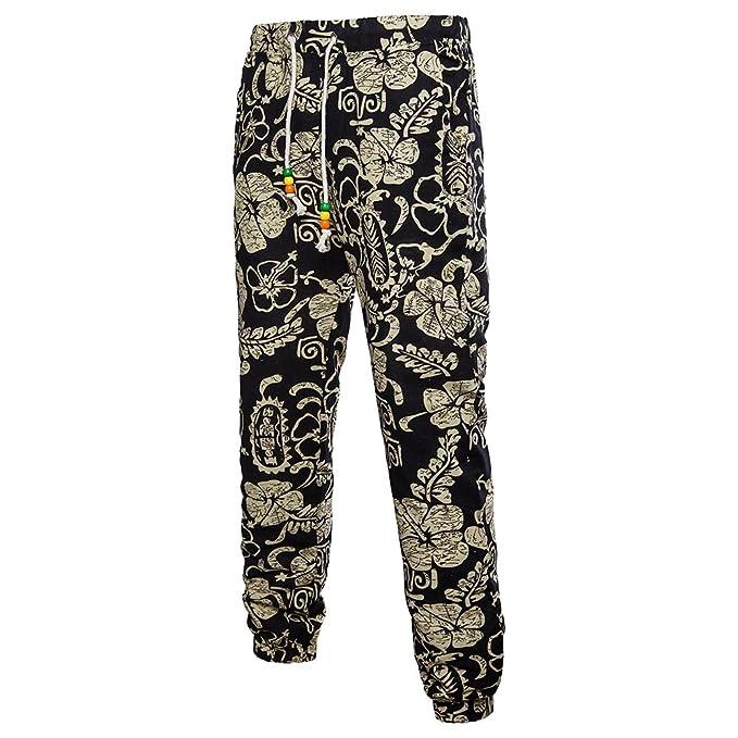 keephen Pantalones de lino de la impresión de Hawaii para hombre, pantalones casuales respirables retros