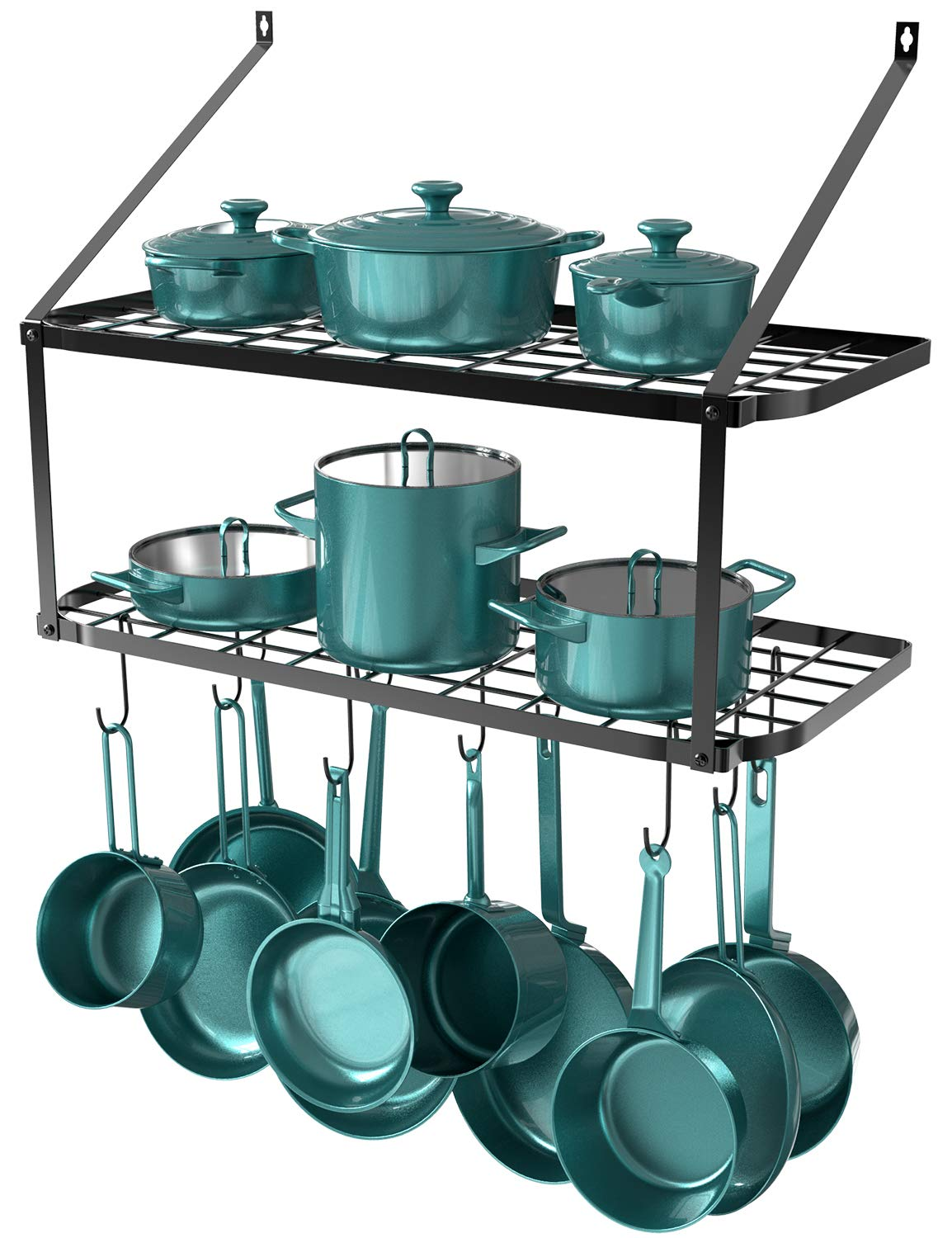 GeekDigg 29.5 Inch Wall Mounted Pot Rack Storage Shelf with 2 Tier 10 Hooks Included, Pantry Organization and Storage, Kitchen Hanging Storage Organizer (Black) by GeekDigg