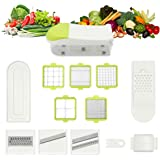 [Updated Version] TAPCET 17 in 1 Stainless Steel Mandoline Slicer,7 Interchangeable Blades + Food Container + Safety Food Holder + Butting Board + Blade Storage Box For Fruit Vegetable Cheese