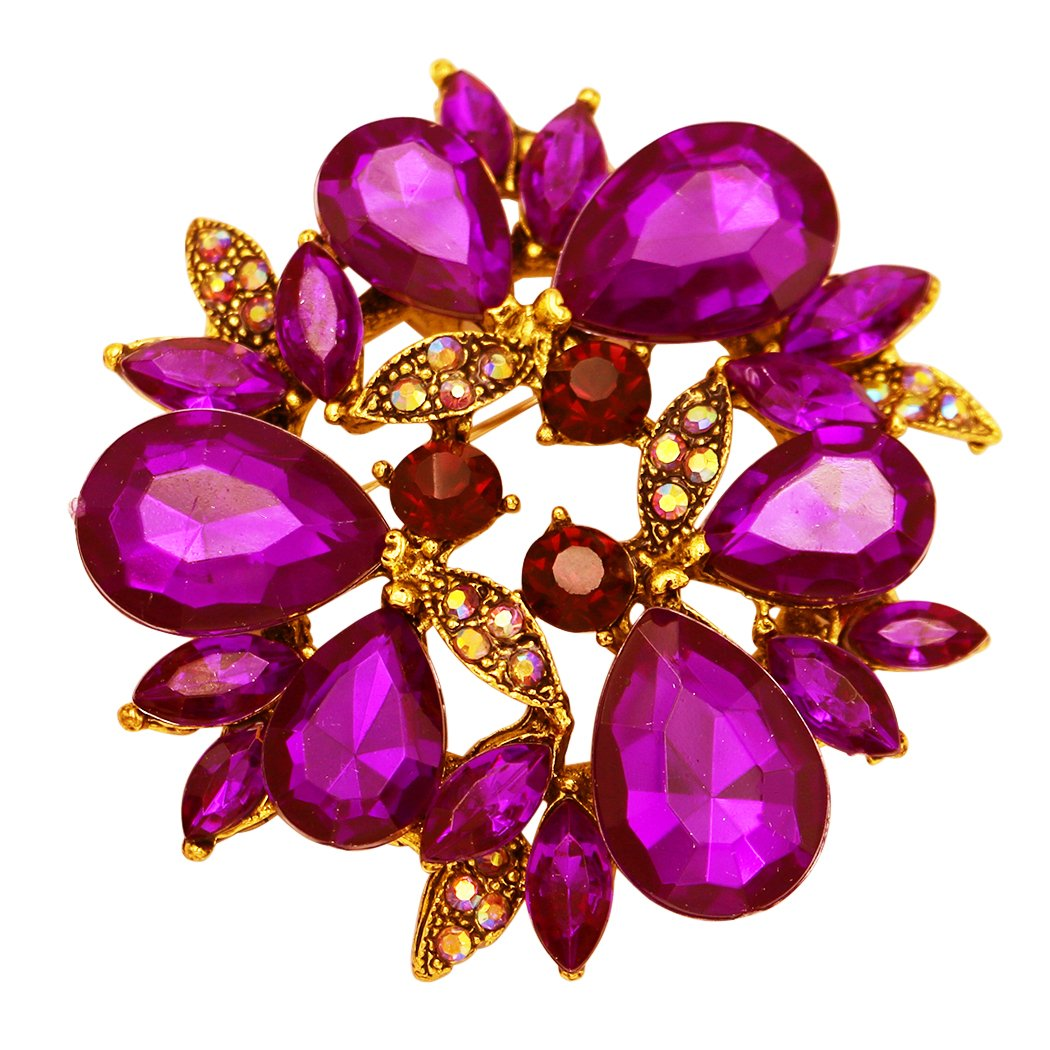 Rosemarie Collections Women's Sparkling Rhinestone Wreath Statement Brooch Pin (Purple)