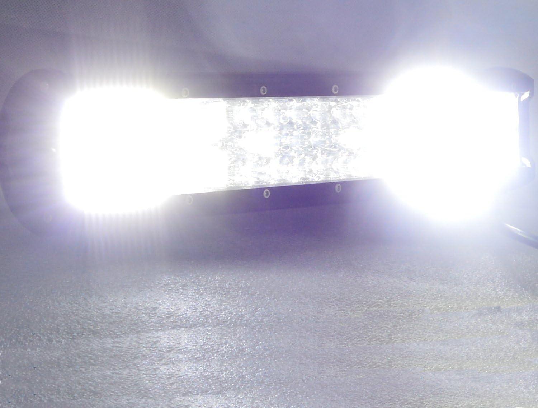 AUXTINGS 108 cm 540W Triple rang/ée 7d Barre Lumineuse LED de Travail Spot inondation Combo Faisceau DC 12V-24V 6000K Offroad V/éhicules 4 x 4 ATV Utvs