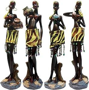 "Rockin Gear Statue African Figurine 12"" Inches Tall 4 Piece Set African Women Figure Decor Art Statues Sculptures - Human Decorative Home Black Figurines"