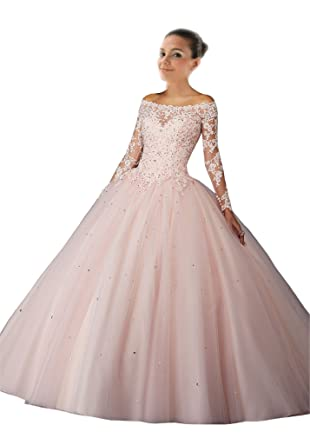 Mollybridal Lace Ball Gown Quinceanera Prom Dresses with Illusion Long Sleeves Keyhole Back Blush Pink 0