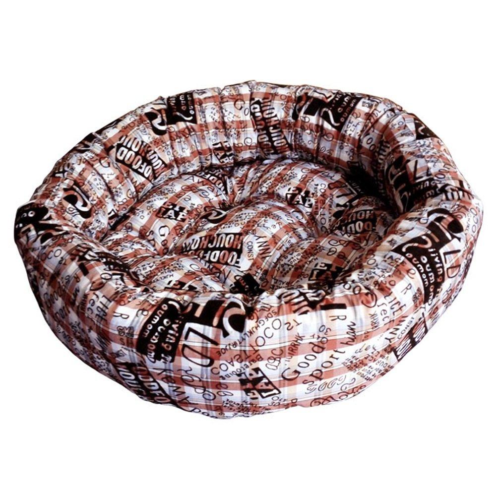 Brown Medium Brown Medium Washable Puppy pet Bed Cotton Warm Kennel Round pet nest Super Warm Super Soft Dog cat Litter (color   Brown, Size   M)