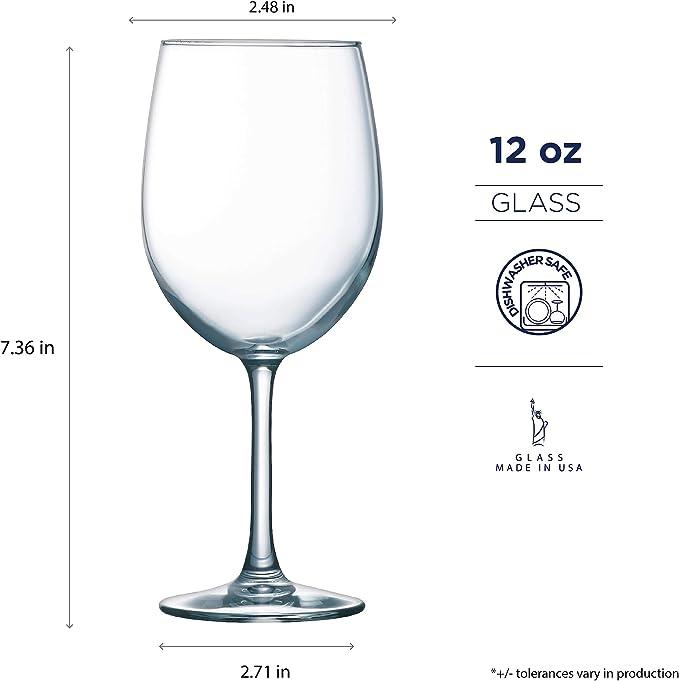 Luminarc 12 Ounce Alto Goblet 12 Piece Wine Glass Set 12 Oz Set Of 12 Clear Kitchen Dining Amazon Com
