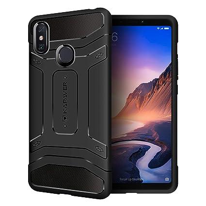 finest selection b75e8 e953f KAPAVER® Xiaomi Mi Max 3 Back Cover Case Drop Tested Shock Proof Carbon  Fiber Armor Black (Mi Max 3 2018)