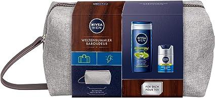 NIVEA MEN - Set de regalo de trotamundos, neceser para hombres con gel de ducha y crema para el cuidado facial, set de viaje para el hombre cuidado.: Amazon.es: Belleza