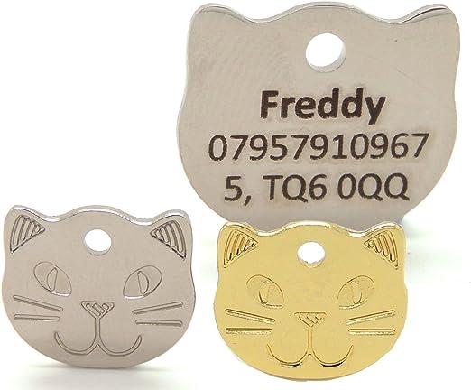 Engravables - Placa grabada con diseño de cara de gato para mascota, texto de contraste en negrita, 22 mm, placa de identificación para gatos, color dorado o plateado Personalizado con texto horizontal.: