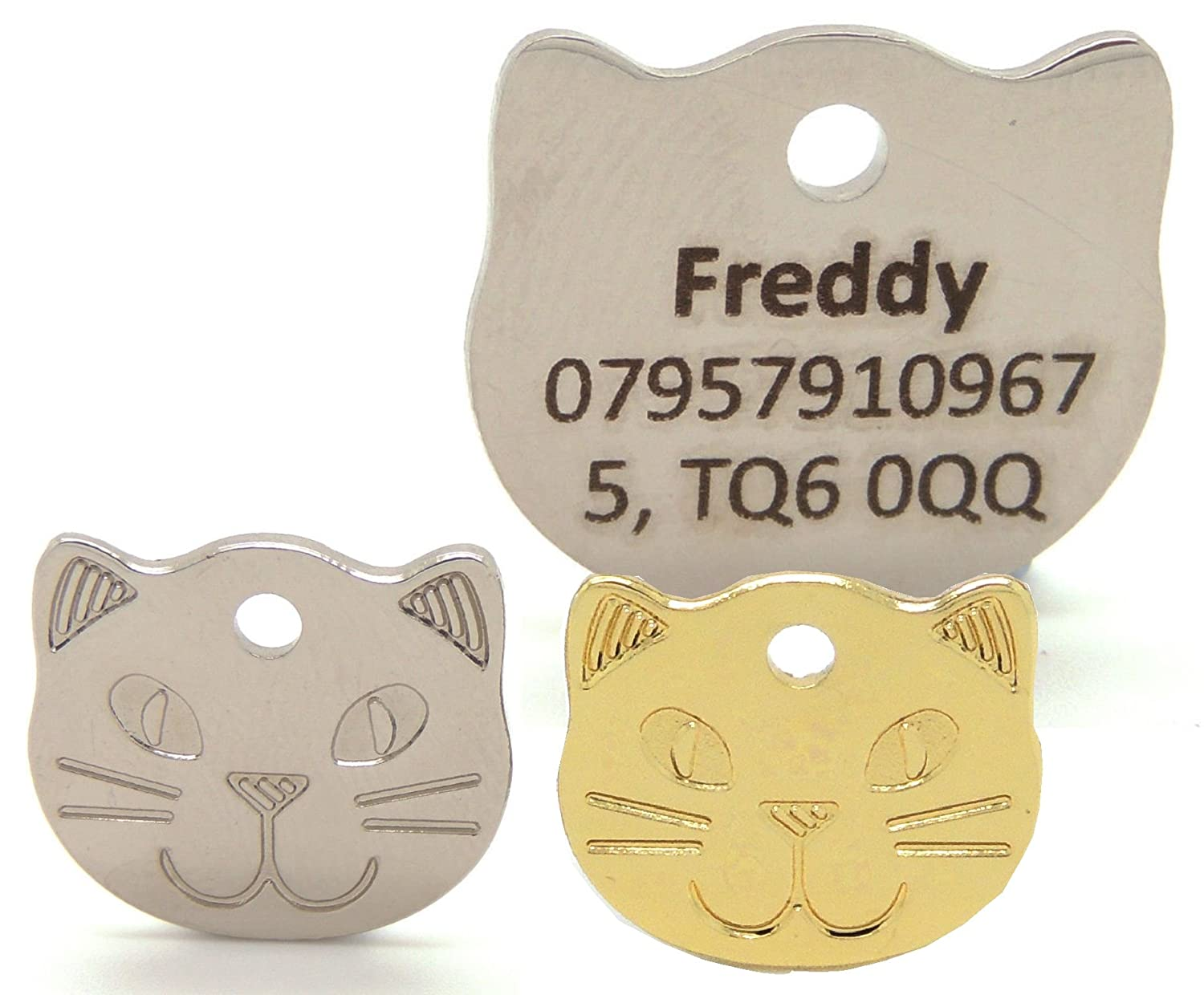 Engraved cat face pet tags. Bold contrasting text, 22mm gold or silver cat ID tags. Personalised (Silver). Engravables
