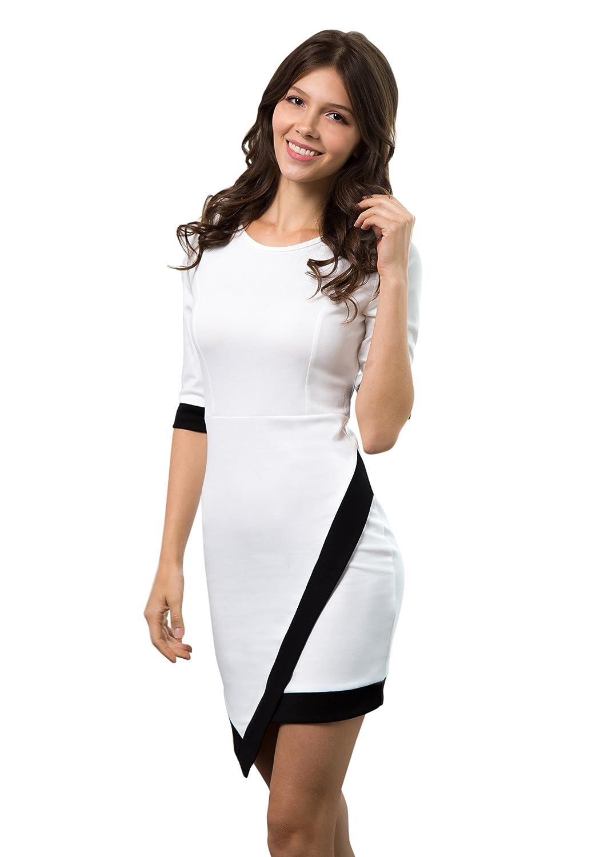 Lookbook Store® Damen Kleid Schwarz Weiß Color Blocking Asymmetrisch