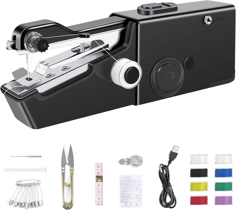 Ossky Mini máquina de coser, mini máquina de coser portátil eléctrica de mano máquina de coser rápida y manejable adecuada para ropa de tela para Viaje/Casa (Avec Cable Cargador)