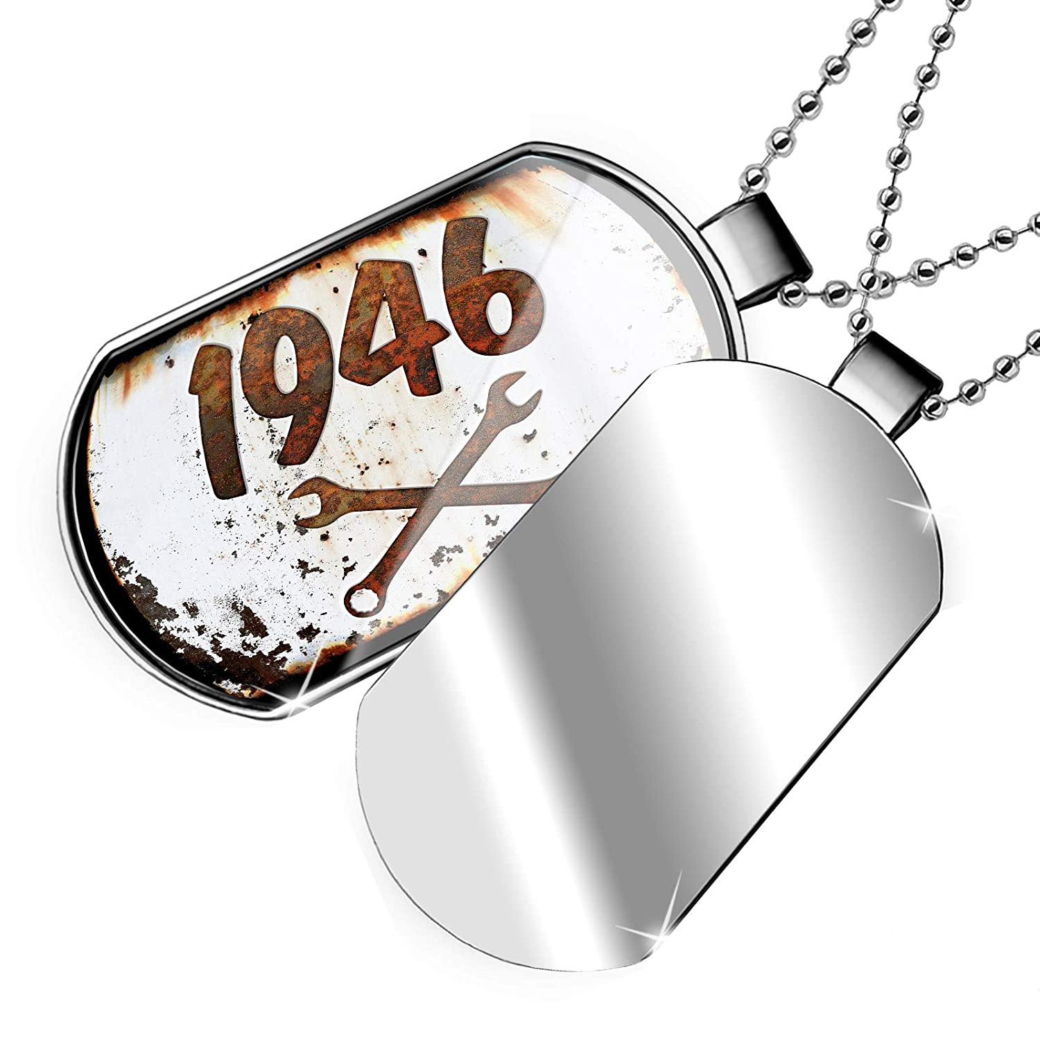 NEONBLOND Personalized Name Engraved Rusty Old Look car 1946 Dogtag Necklace