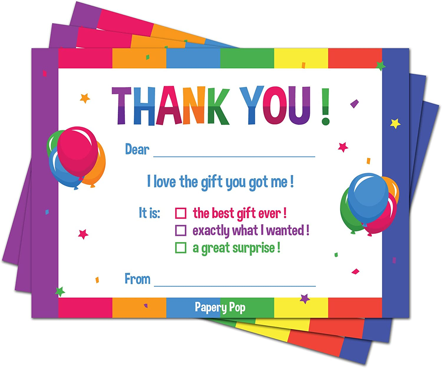 Blue Photo Party Gift Notes Kids Thank You CardsPersonalised Childrens Pink