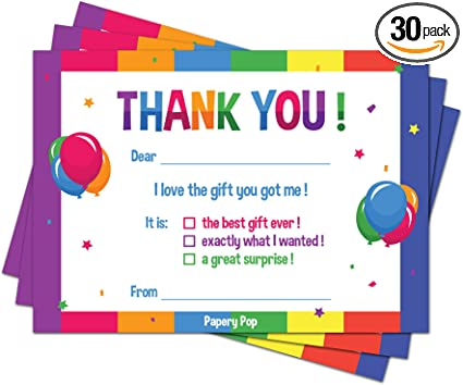 Thank You Notes Fill In The Blank Thank You Cards Boy Birthday Party Thank you notes for kids Thank You Cards for Kids