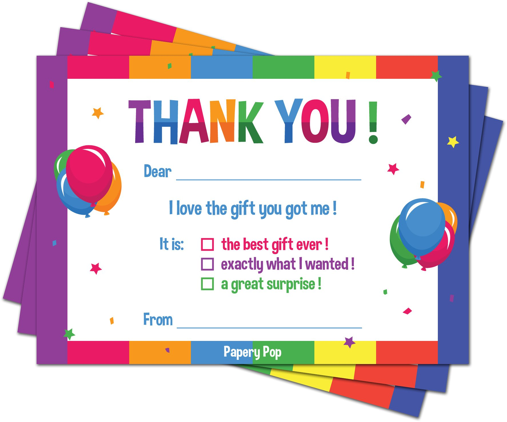 30 Kids Thank You Cards With Envelopes Pack