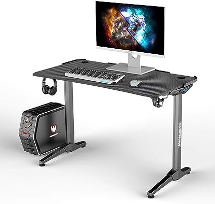 Outshine Gaming Entity Escritorio para juegos de PC negro 120 x 64 x 77 cm consola de PC escritorio de juegos con luces LED de gestión de cables negro ...