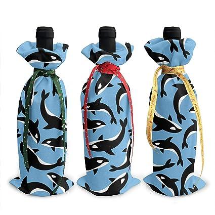 Amazon BLACK SP 3Pcs Wine Bottle Cover Killer Whales Orca
