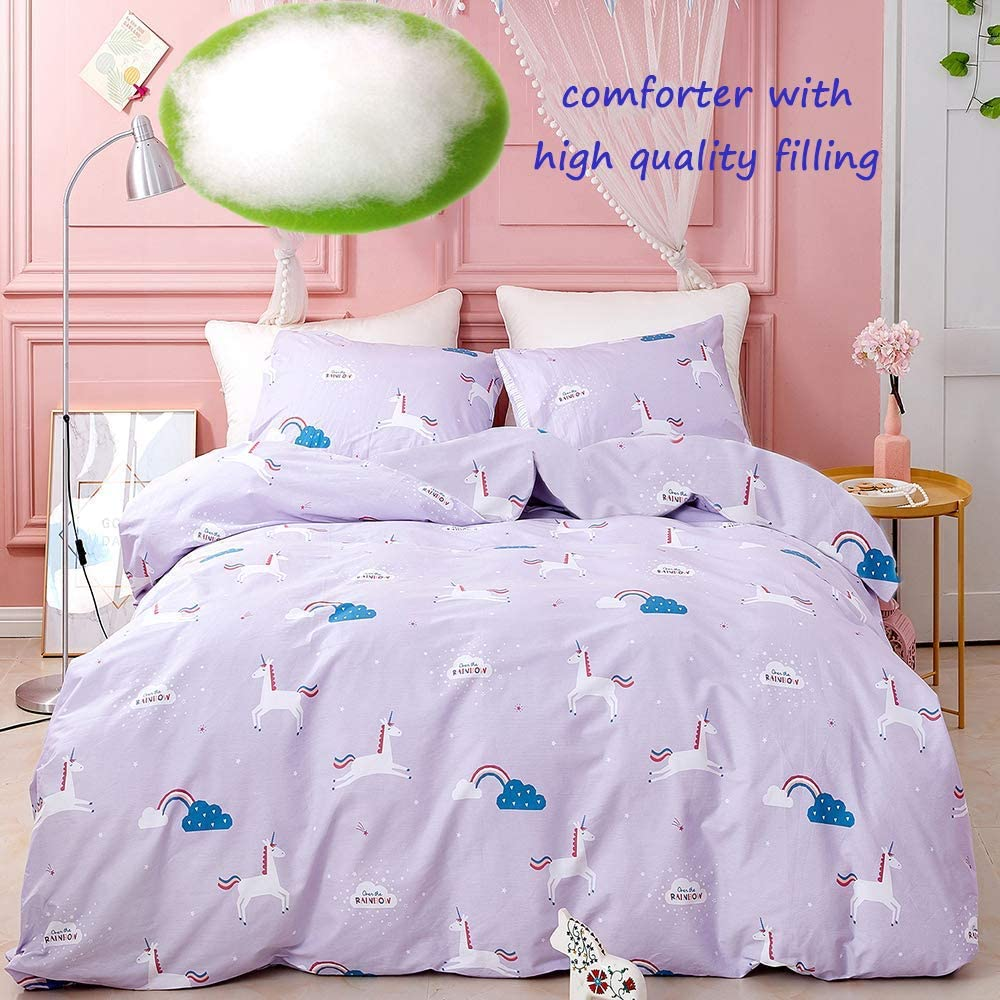 Amazon Com Jumeey Toddler Girls Comforter Set Twin Unicorn Bedding Set Purple Pony Rainbow Bedding Sets Twin Light Purple Lavender Comforter Set Cotton Kids Cartoon Comforter 3 Piece Home Kitchen