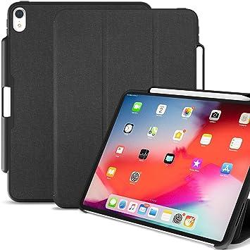 KHOMO Funda iPad Pro 12.9 (3 Gen) Negra con Soporte para Apple Pencil 2 y Smart Cover Protección Delantera y Trasera para Nuevo Apple iPad Pro ...