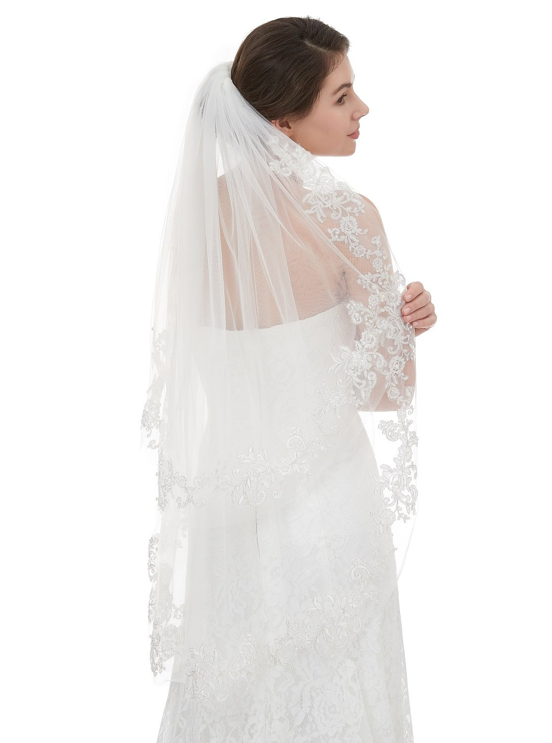 EllieHouse Women's Short 2 Tier Lace Ivory Wedding Bridal Veil With Comb L37IV