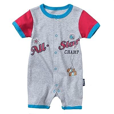 XIAOH Infant Baby Boy Baby Girl Short Sleeve Baseball Romper Sport Stripe  Bodysuit Cotton Summer Clothes 5966ef4e7