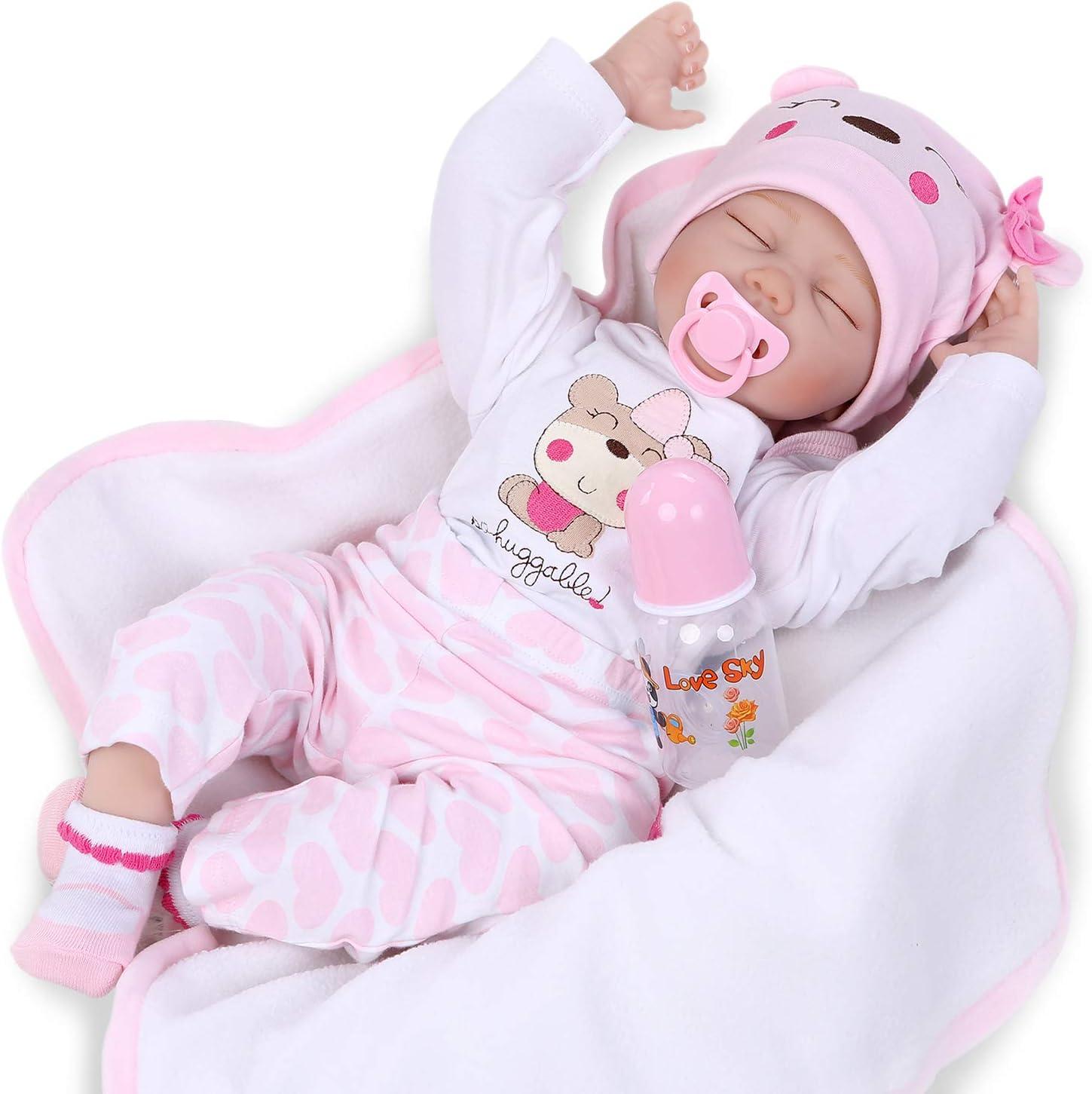 Nicery Reborn Baby Doll Renacer Bebé la Muñeca Vinil Simulación Silicona Suave 22 Pulgadas 55cm Boca Natural Niña Niño Juguete vívido Rosado Blanco Ojos Cerca