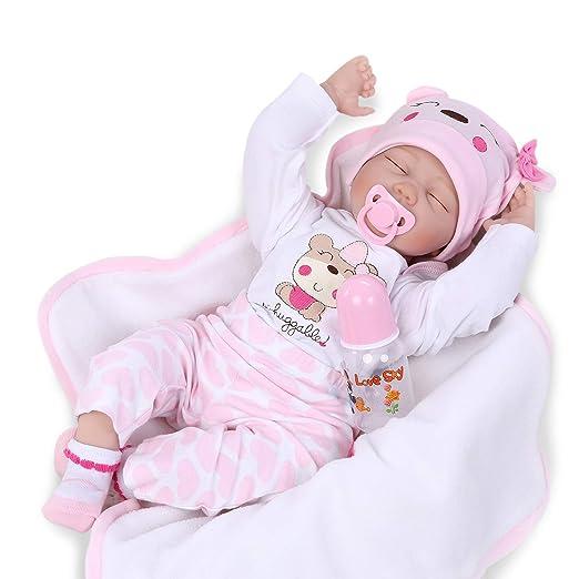 Nicery Reborn Baby Doll Renacer Bebé la Muñeca Vinil Simulación Silicona Suave 22 Pulgadas 55cm Boca Magnética Natural Niña Niño Juguete vívido para 3 ...