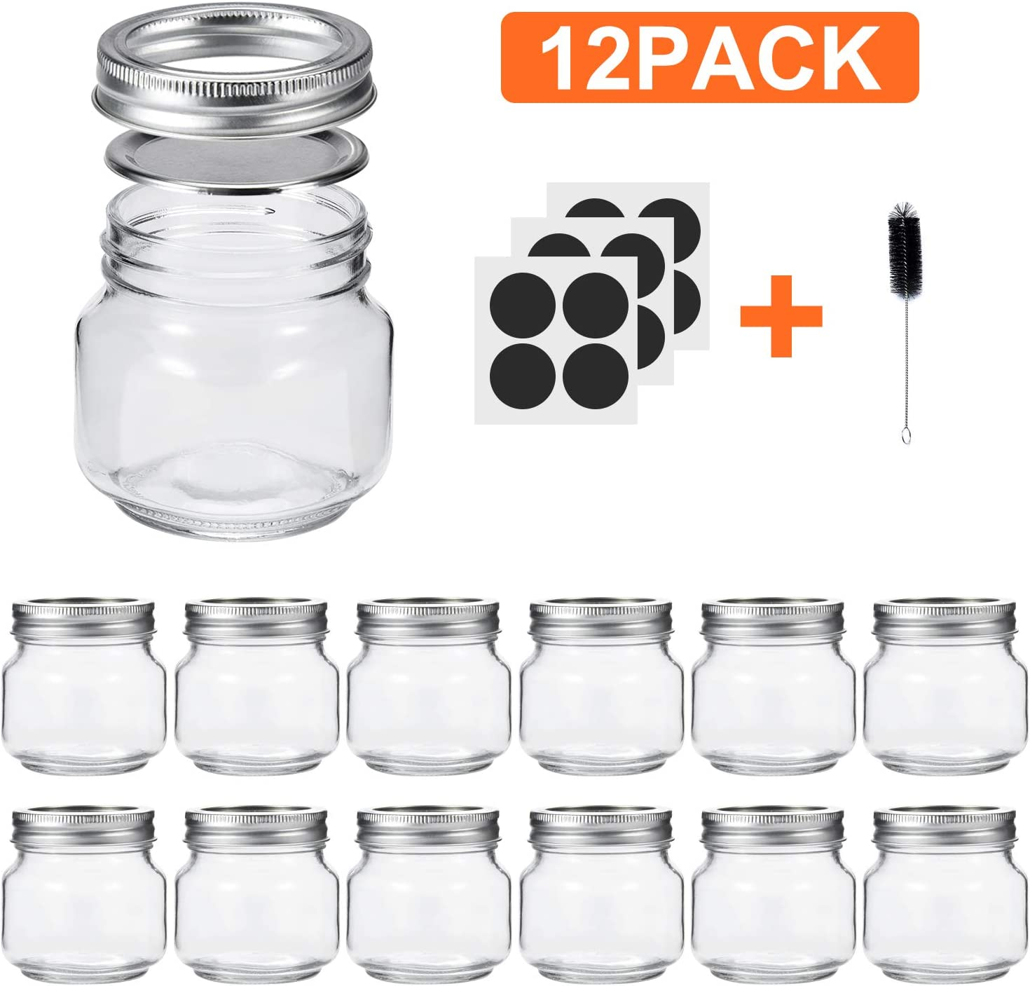 Glotoch Mason Jars 8OZ With Regular Lids and Bands, Ideal for Jam, Honey, Wedding Favors, Shower Favors, Baby Foods, DIY Magnetic Spice Jars, 12 PACK, Included 12 Chalkboard Labels and1 brush