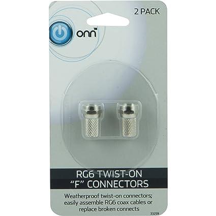 """ONN ONA16AV006 RG6 Coax Twist-On """"F"""" Connectors"""