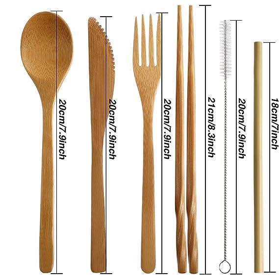 4 Juegos de Utensilios de Bambú Cubertería Juego de Cubiertos de Viaje de Bambú Tenedor Cuchara Cuchillo Palillos Pajitas de Bambú Cepillo de Metal: ...