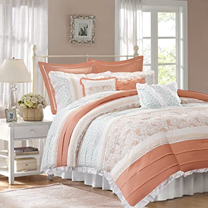 amazon com madison park dawn king size bed comforter set bed in a rh amazon com shabby chic king size bed skirt shabby chic king size bedspreads