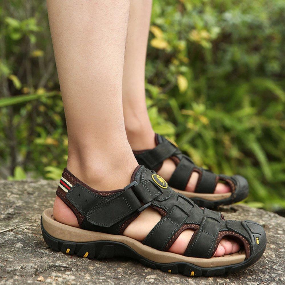 Männer Sommer Closed-Toe Sandalen Leder Outdoor Outdoor Casual Strand Schuhe Für Outdoor Outdoor Sneakers Leichte Hausschuhe schwarz fdc191